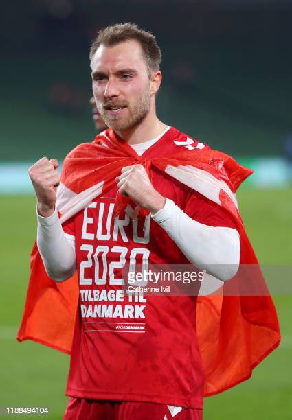 Christian Eriksen of Denmark celebrates after the UEFA Euro 2020 qualifier between Republic of Ireland and Denmark at Dublin Arena on November 18,...