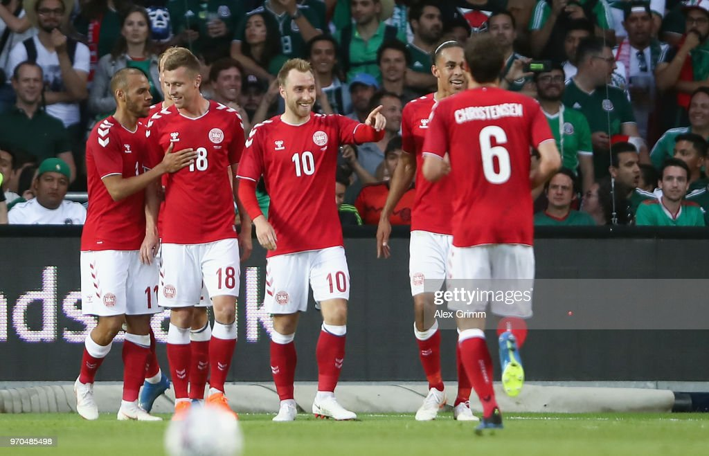Christian Eriksen #10 of Denmark celebrates his team's second goal with team mates during the international friendly match between Denmark and Mexico ahead of the FIFA World Cup Russia 2018 at Brondby Stadion on June 9, 2018 in Brondby, Denmark.