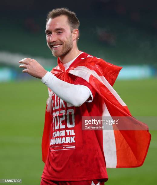 Christian Eriksen of Denmark celebrates qualification after the UEFA Euro 2020 qualifier between Republic of Ireland and Denmark so at Dublin Arena...