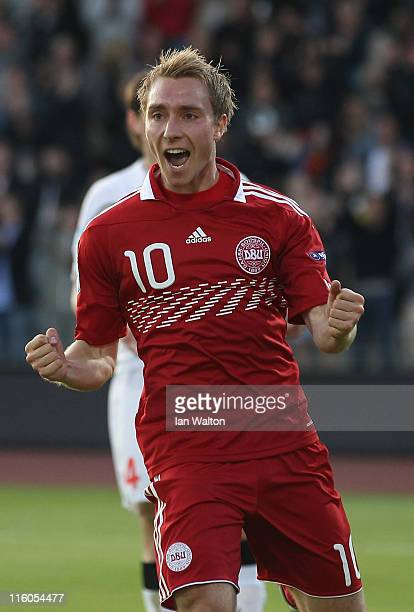 Christian Eriksen of Denmark celebrates scoring a goal during the UEFA European Under21 Championship Group A match between Denmark and Belarus at the...