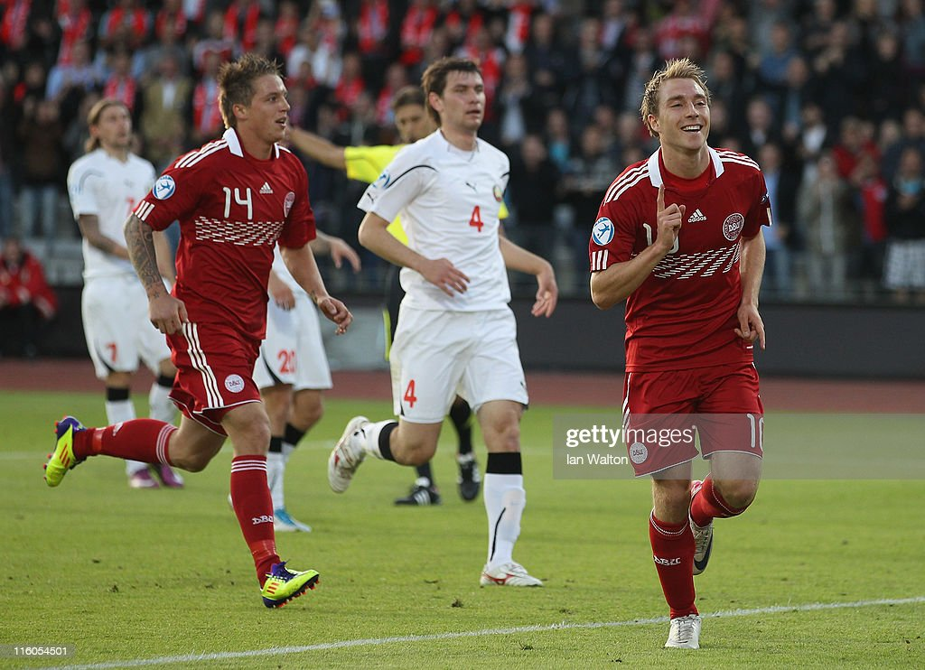 Christian Eriksen of Denmark celebrates scoring a goal during the UEFA European Under-21 Championship Group A match between Denmark and Belarus at the Aarhus stadium on on June 14, 2011 in Aarhus, Denmark.