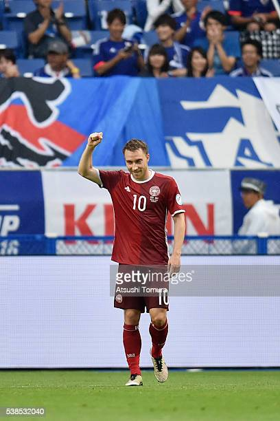 Christian Eriksen of Denmark celebrates scoring his team's third goal during the international friendly match between Denmark and Bulgaria at the...