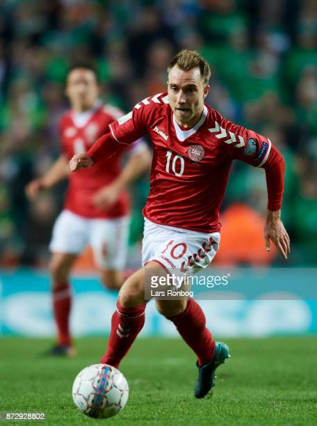 Christian Eriksen of Denmark controls the ball during the FIFA 2018 World Cup Qualifier PlayOff First Leg match between Denmark and Republic of...