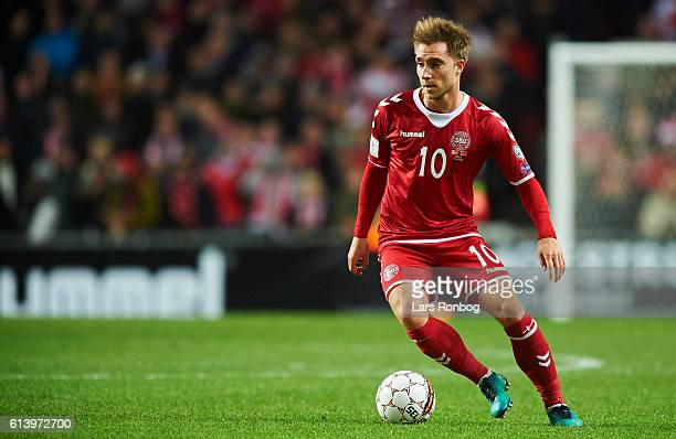 Christian Eriksen of Denmark controls the ball during the FIFA World Cup 2018 european qualifier match between Denmark and Montenegro at Telia Parken...