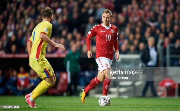 Christian Eriksen of Denmark controls the ball during the FIFA World Cup 2018 qualifier match between Denmark and Romania at Telia Parken Stadium on...