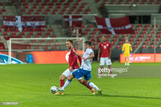 Christian Eriksen of Denmark controls the ball during the international friendly match between Denmark and Faroe Islands at MCH Arena on October 7...