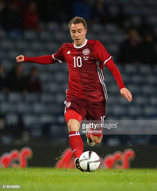 Christian Eriksen of Denmark controls the ball during the International Friendly match between Scotland and Denmark at Hampden Park on March 29 2016...