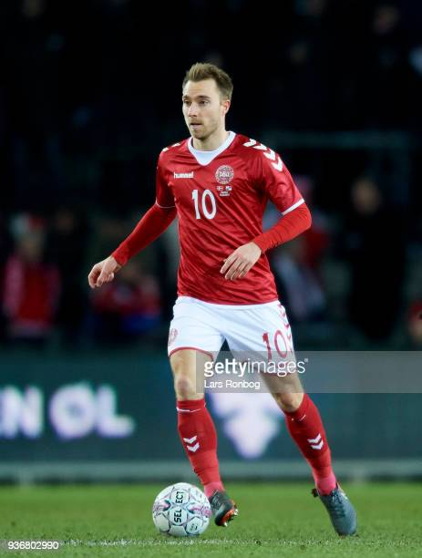 Christian Eriksen of Denmark controls the ball during the International friendly match between Denmark and Panama at Brondby Stadion on March 22 2018...