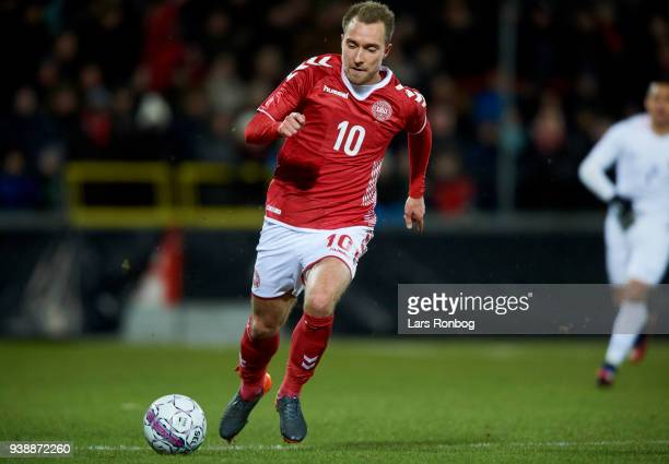 Christian Eriksen of Denmark controls the ball during the International friendly match between Denmark and Chile at Aalborg Stadion on March 27 2018...