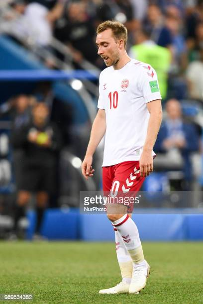 Christian Eriksen of Denmark dejected during the 2018 FIFA World Cup Round of 16 match between Croatia and Denmark at Nizhny Novgorod Stadium in...