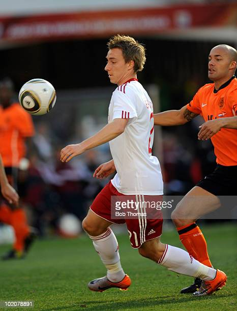 Christian Eriksen of Denmark during the 2010 FIFA World Cup Group E match between Netherlands and Denmark at Soccer City Stadium on June 14 2010 in...