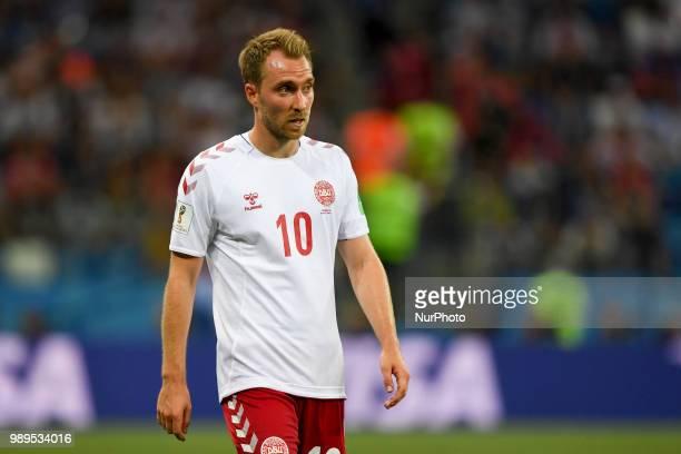 Christian Eriksen of Denmark during the 2018 FIFA World Cup Round of 16 match between Croatia and Denmark at Nizhny Novgorod Stadium in Nizhny...