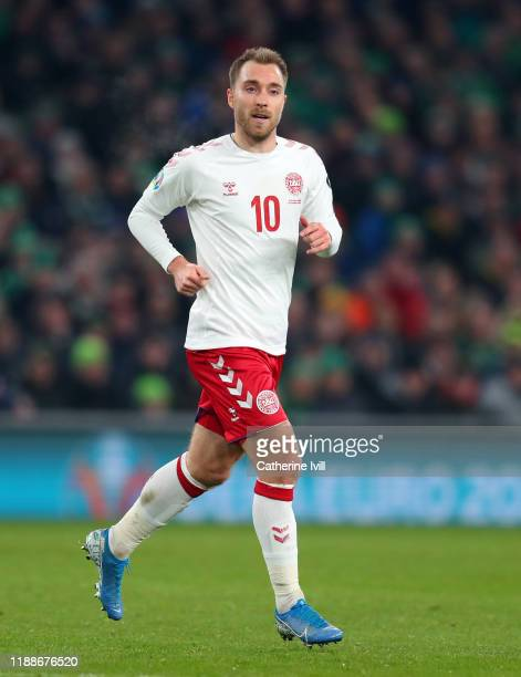Christian Eriksen of Denmark during the UEFA Euro 2020 qualifier between Republic of Ireland and Denmark so at Dublin Arena on November 18, 2019 in...