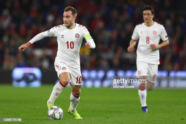 Christian Eriksen of Denmark during the UEFA Nations League B group four match between Wales and Denmark at Cardiff City Stadium on November 16, 2018...