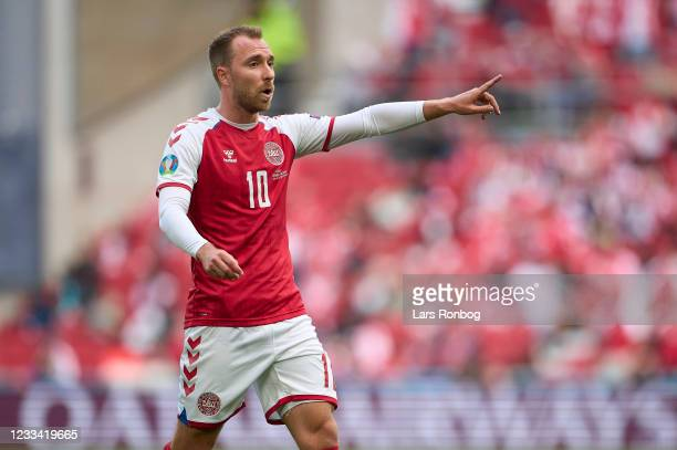 Christian Eriksen of Denmark gestures during the UEFA EURO 2020 Group B match between Denmark and Finland at Parken Stadium on June 12, 2021 in...