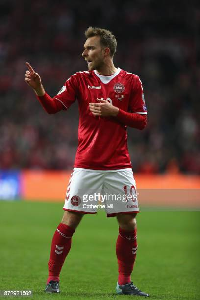 Christian Eriksen of Denmark gives his team instructions during the FIFA 2018 World Cup Qualifier PlayOff First Leg between Denmark and Republic of...