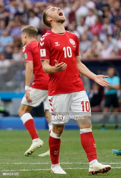 Christian Eriksen of Denmark in action during the 2018 FIFA World Cup Russia group C match between Denmark and France at Luzhniki Stadium on June 26...
