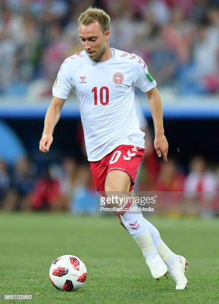 Christian Eriksen of Denmark in action during the 2018 FIFA World Cup Russia Round of 16 match between Croatia and Denmark at Nizhny Novgorod Stadium...