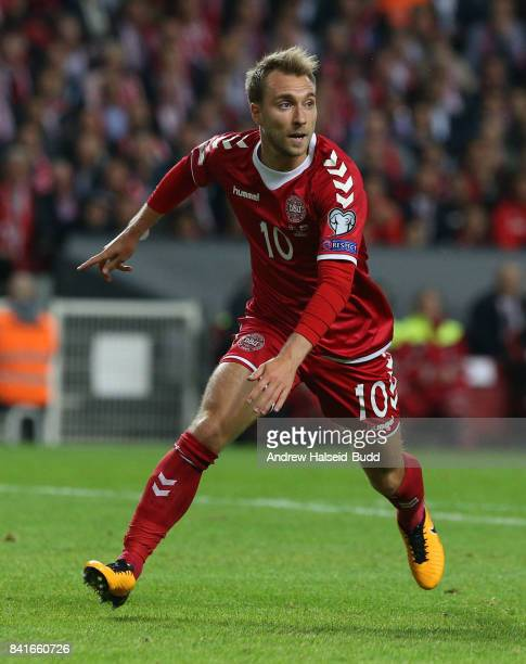 Christian Eriksen of Denmark in action during the FIFA 2018 World Cup Qualifier between Denmark and Poland at Parken Stadion on September 1 2017 in...