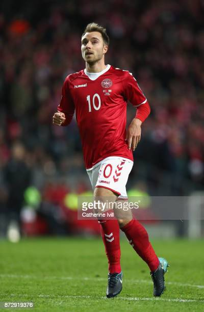 Christian Eriksen of Denmark in action during the FIFA 2018 World Cup Qualifier PlayOff First Leg between Denmark and Republic of Ireland at Telia...
