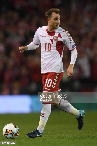 Christian Eriksen of Denmark in action during the FIFA 2018 World Cup Qualifier PlayOff Second Leg between Republic of Ireland and Denmark at Aviva...