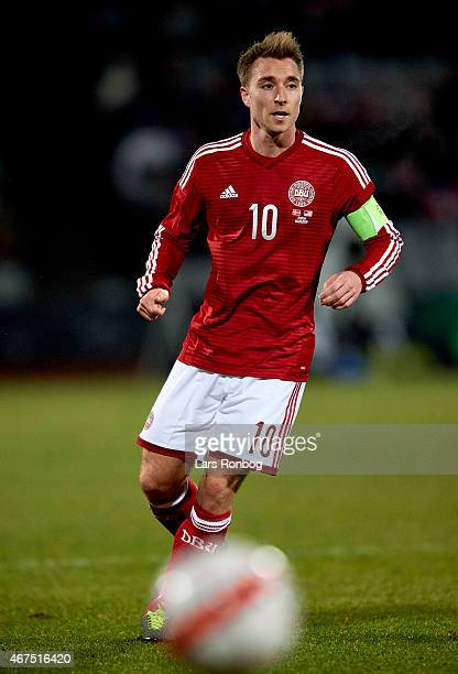 Christian Eriksen of Denmark in action during the International Friendly match between Denmark and Unites States at NRGi Park on March 25 2015 in...