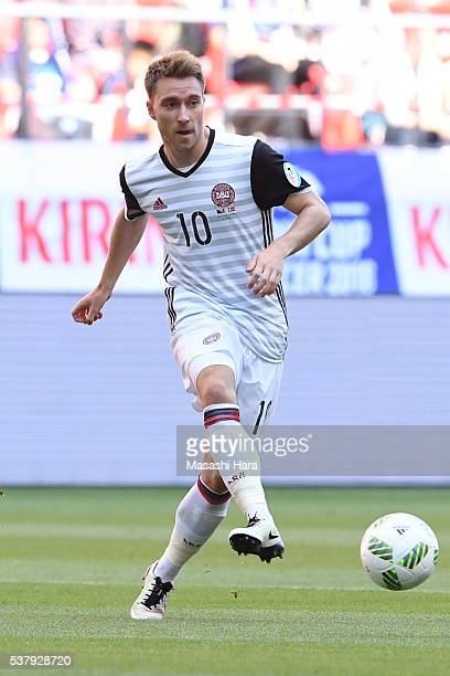 Christian Eriksen of Denmark in action during the international friendly match between Bosnia and Herzegovina and Denmark at the Toyota Stadium on...