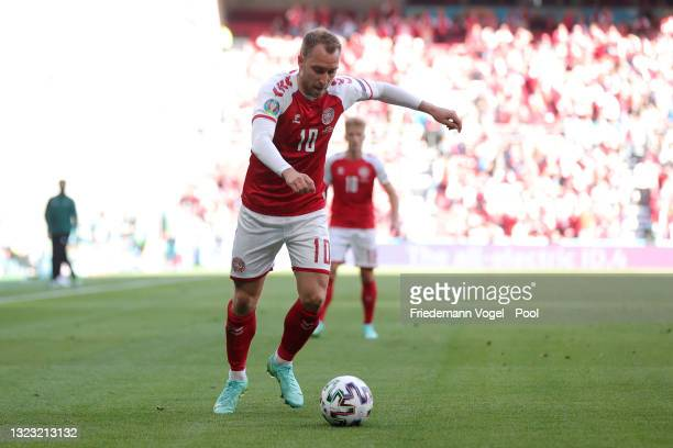 Christian Eriksen of Denmark in action during the UEFA Euro 2020 Championship Group B match between Denmark and Finland on June 12, 2021 in...