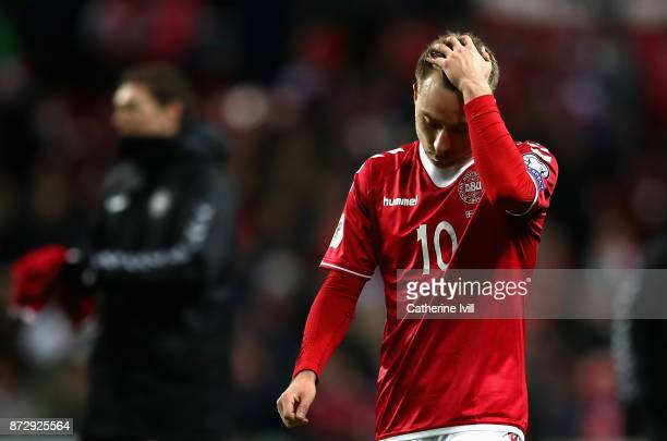 Christian Eriksen of Denmark looks dejected after the FIFA 2018 World Cup Qualifier PlayOff First Leg between Denmark and Republic of Ireland at...