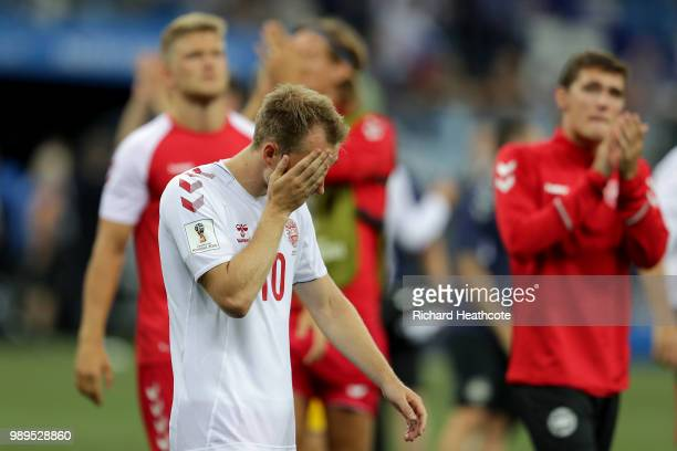 Christian Eriksen of Denmark looks dejected as the lose on penalties to Croatia during the 2018 FIFA World Cup Russia Round of 16 match between...