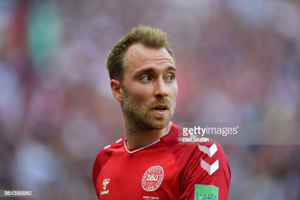 Christian Eriksen of Denmark looks on during the 2018 FIFA World Cup Russia group C match between Denmark and France at Luzhniki Stadium on June 26,...