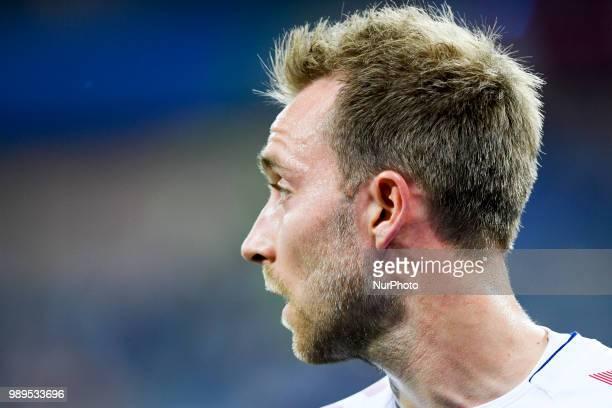 Christian Eriksen of Denmark looks on during the 2018 FIFA World Cup Round of 16 match between Croatia and Denmark at Nizhny Novgorod Stadium in...
