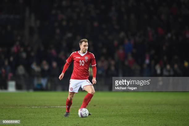 Christian Eriksen of Denmark looks on during the International Friendly match between Denmark and Panama at Brondby Stadion on March 22 2018 in...
