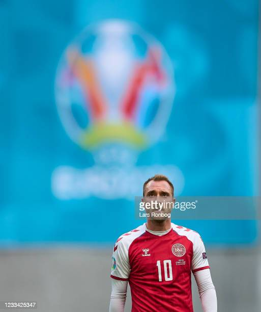 Christian Eriksen of Denmark looks on during the UEFA EURO 2020 Group B match between Denmark and Finland at Parken Stadium on June 12, 2021 in...