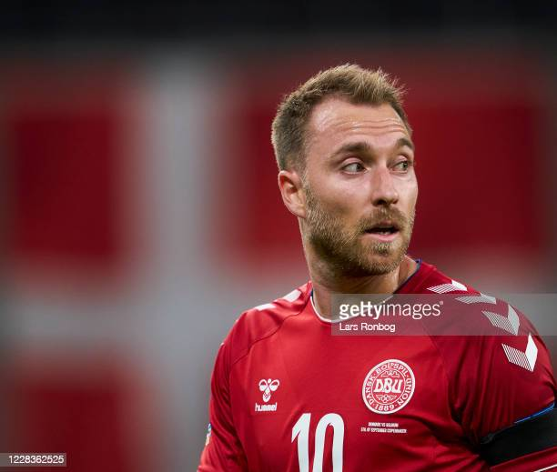 Christian Eriksen of Denmark looks on during the UEFA Nations League match between Denmark and Belgium at Parken Stadium on September 5, 2020 in...