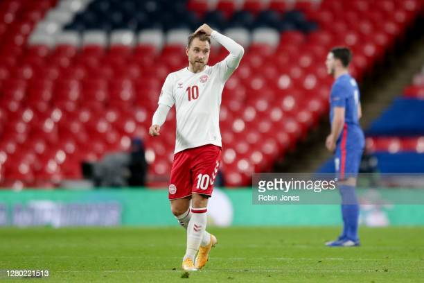 Christian Eriksen of Denmark looks on during the UEFA Nations League group stage match between England and Denmark at Wembley Stadium on October 14...