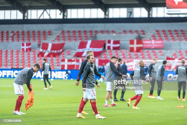 Christian Eriksen of Denmark Looks on prior to the international friendly match between Denmark and Faroe Islands at MCH Arena on October 7 2020 in...