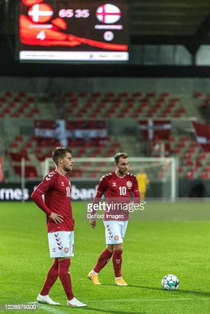 Christian Eriksen of Denmark Mathias Jensen of Denmark Gestures during the international friendly match between Denmark and Faroe Islands at MCH...