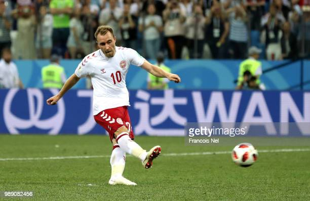 Christian Eriksen of Denmark misses his team's first penalty in the penalty shoot out during the 2018 FIFA World Cup Russia Round of 16 match between...