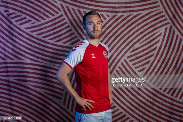 Christian Eriksen of Denmark poses during the official UEFA Euro 2020 media access day at Hotel Marienlyst on June 07, 2021 in Helsingor, Denmark.