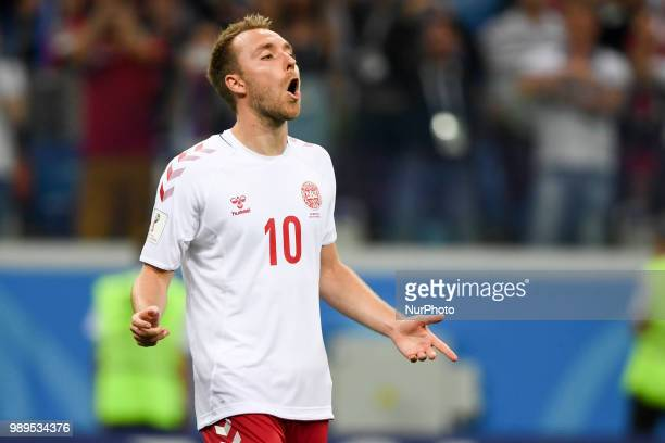 Christian Eriksen of Denmark react after penalty kick during the 2018 FIFA World Cup Round of 16 match between Croatia and Denmark at Nizhny Novgorod...