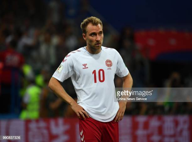 Christian Eriksen of Denmark reacts during the 2018 FIFA World Cup Russia Round of 16 match between Croatia and Denmark at the Nizhny Novgorod...
