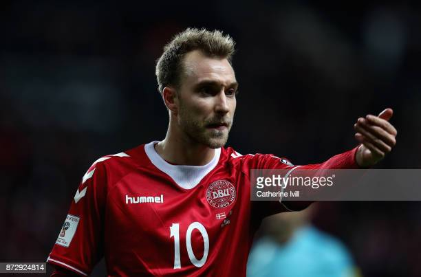 Christian Eriksen of Denmark reacts during the FIFA 2018 World Cup Qualifier PlayOff First Leg between Denmark and Republic of Ireland at Telia...