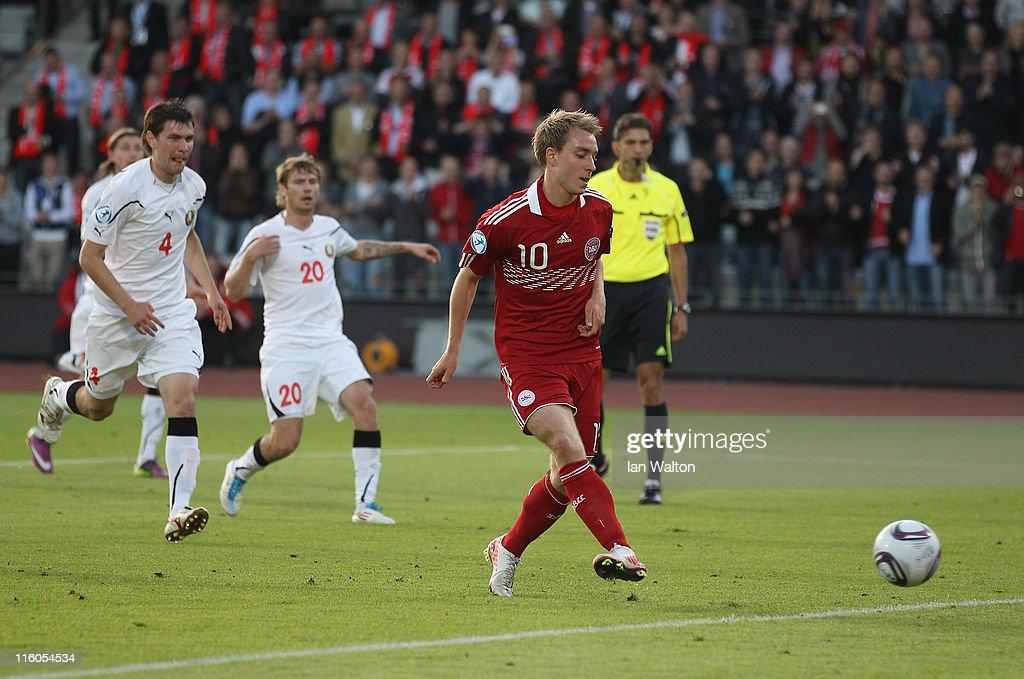 Christian Eriksen of Denmark scores a goal during the UEFA European Under-21 Championship Group A match between Denmark and Belarus at the Aarhus stadium on on June 14, 2011 in Aarhus, Denmark.
