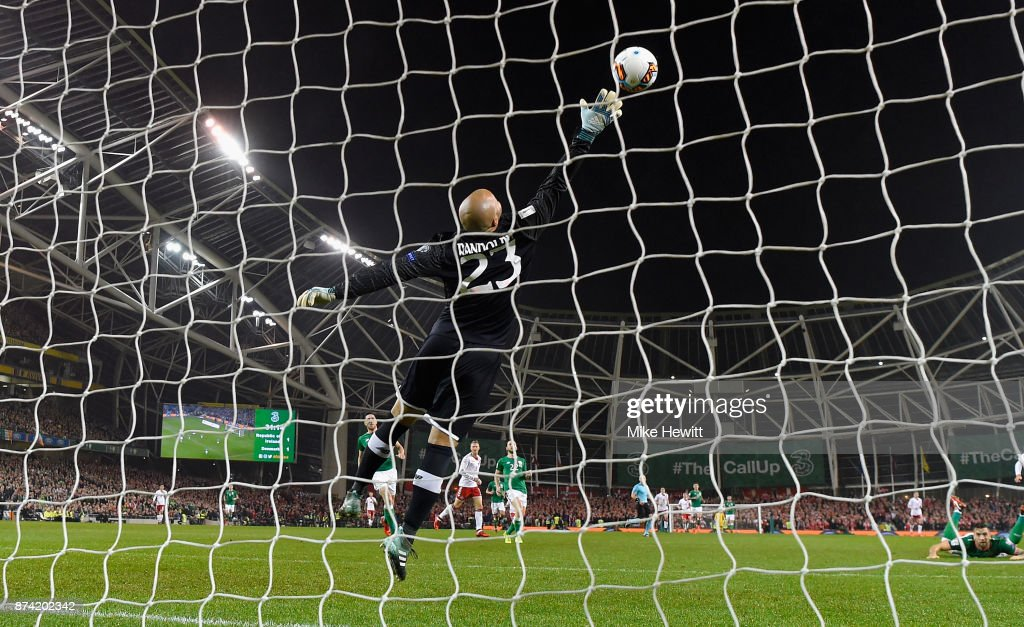 Christian Eriksen of Denmark (obscure) scores his sides second goal past Darren Randolph of the Republic of Ireland during the FIFA 2018 World Cup Qualifier Play-Off: Second Leg between Republic of Ireland and Denmark at Aviva Stadium on November 14, 2017 in Dublin, Ireland.