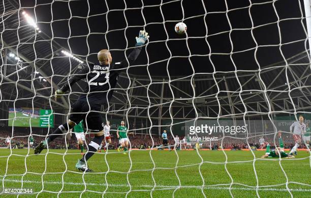 Christian Eriksen of Denmark scores his sides second goal past Darren Randolph of the Republic of Ireland during the FIFA 2018 World Cup Qualifier...