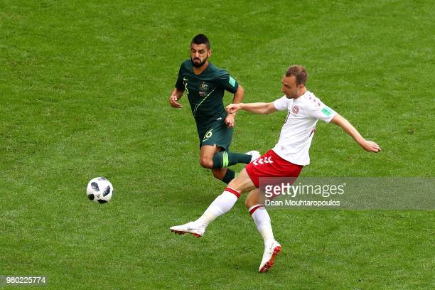 Christian Eriksen of Denmark scores his team's first goal during the 2018 FIFA World Cup Russia group C match between Denmark and Australia at Samara...