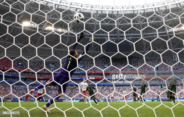 Christian Eriksen of Denmark scores his team's first goal past Mathew Ryan of Australia during the 2018 FIFA World Cup Russia group C match between...