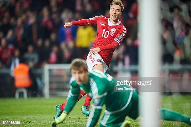 Christian Eriksen of Denmark scores the 41 goal during the FIFA 2018 World Cup Qualifier match between Denmark and Kazakhstan at Telia Parken Stadium...
