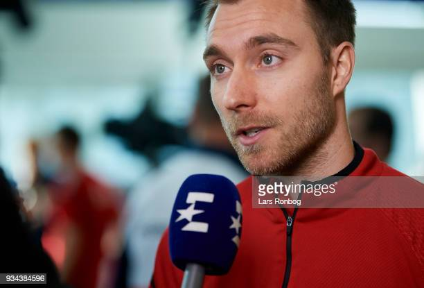 Christian Eriksen of Denmark speaking to the media during the Denmark press conference at Clarion Hotel Copenhagen Airport on March 19 2018 in...